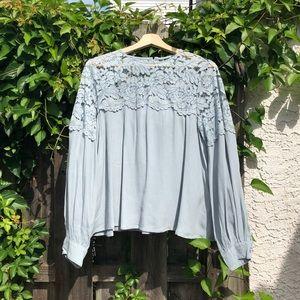 H&M lace yoke swing blouse